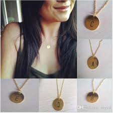 letter plate necklace images Wholesale a p letters 2015 initial necklace personalized discs jpg