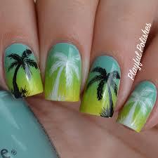 playful polishes gradient palm tree nail art