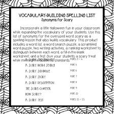 vocabulary building spelling list synonyms for scary by bring lit on