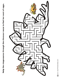 dinosaur maze free printable puzzle long neck dinosaur