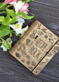 recipe book binder bridal shower gift wooden notebook