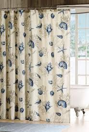 Seashell Shower Curtains Blue Seashell Shower Curtain