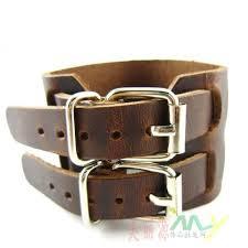 leather bracelet wristband images New men 39 s double 100 pure leather bracelets punk wristband can jpg