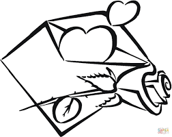 my heart is in envelope coloring page free printable coloring pages