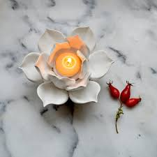 Lotus Flower Tea - handmade ceramic lotus tea light holders