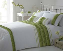 simple bedroom with striped ruffle lime green white color