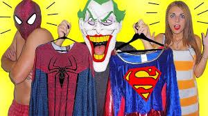joker stolen costumes spiderman and supergirl shocked funny