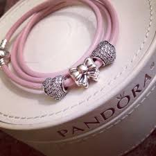 pink leather bracelet images Pandora pink triple leather bracelet with pink heart pave and bow jpg