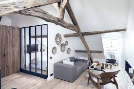18th century home decor charming attic apartment redesigned around its wooden beams