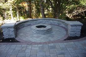 Unilock Fire Pit by Fire Feature And Sitting Wall Unilock Richclif Rivercrest And