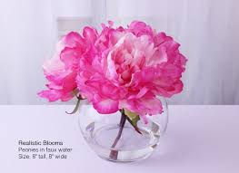 Peony Floral Arrangement Pink Pink Silk Peony Peonies Glass Vase Faux Water