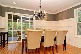 Formal Dining Room GreyGray And White Wainscot Traditional - Wainscoting dining room