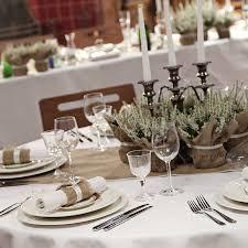 hessian plant wrap with satin trim wedding centerpieces