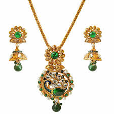pendant necklace earring images Traditional peacock design green white stone shell pearl gold jpg