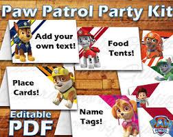 printable paw patrol birthday party food label tent card