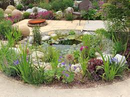 garden pond with flowers and shrubs gardens pinterest garden