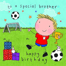 twizler happy birthday card for brother footballer with presents