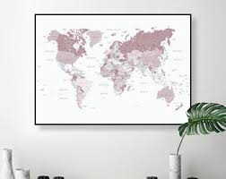 printable world map a1 pink world map etsy