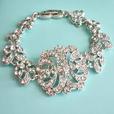 bridal bracelet images Bridal bracelet wedding bracelet silver art deco baguette jpg
