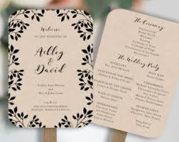 Diy Wedding Fan Programs Wedding Program Fan Template Printable Rustic Wedding Fan