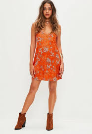 orange dress orange floral cami shift dress missguided