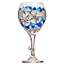 personalized sand dollars sand dollar wine glass painted custom wine glasses design