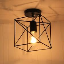 Wire Cage Light Fashion Style Square Semi Flush Mount Ceiling Lights Industrial