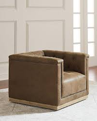 Brown Accent Chair Tufted Leather Swivel Accent Chair