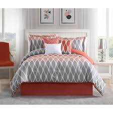 Grey And White Bedding Sets Clarisse Coral Grey White 7 Piece Full Queen Comforter Set