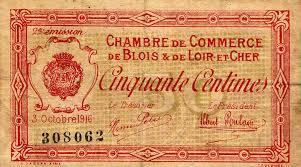 chambre du commerce blois billets de nécessité 1914 1918 blois loir et cher chambre de