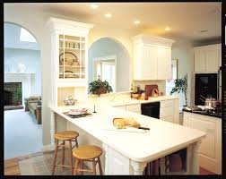 furniture white corian countertop kitchen island with round wood
