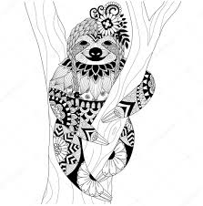 sloth zentangle design for coloring book for and other