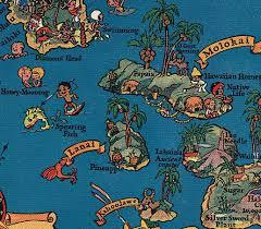 Map Of Hawaii Island Jeni Sandberg 20th Century Design Vintage Hawaiiana Ruth