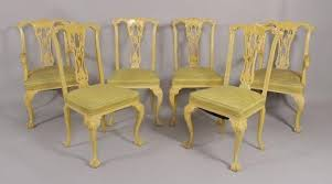 Chinese Chippendale Dining Chairs Igavel Auctions Set Of Six Yellow Painted Chinese Chippendale