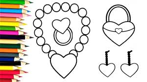 how to draw hearts for baby drawings and coloring book for kids