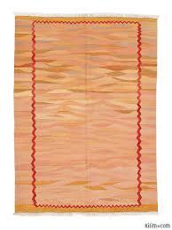 Kilim Area Rug K0003873 Pink Orange New Turkish Kilim Area Rug
