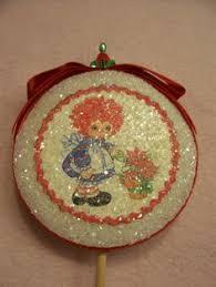 raggedy andy ornaments made in japan styrofoam yarn felt