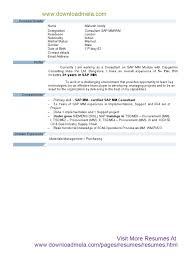 Sap Mm Certified Consultant Resume Sap Mm Module Resume With 3 Years Experience Business Process