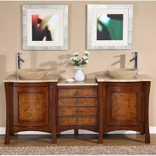 Silkroad  Inch Double Sink Bathroom Vanity Travertine Countertop - Bathroom vanities double vessel sink