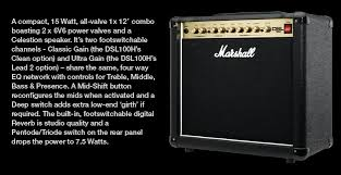 Marshall 1x12 Extension Cabinet Marshall Dsl15c 15w All Tube 1x12 Guitar Combo Amplifier