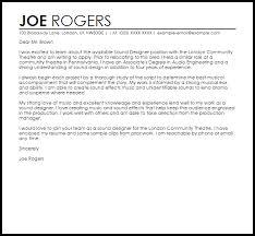 sound designer cover letter sle livecareer
