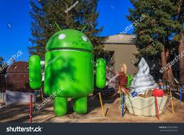 android statues 20161226 android lawn statues googlplex stock photo
