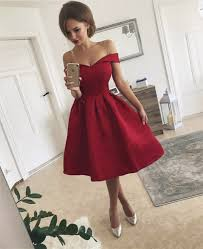 short v neck off the shoulder bridesmaid dresses knee length