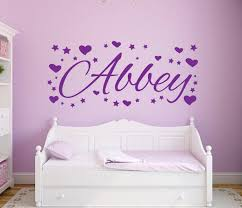 nursery wall stickers with custom names by eydecals personalised name hearts and stars wall decal