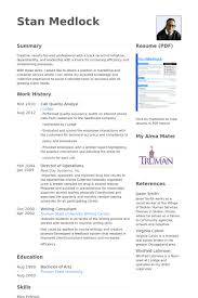 Hr Analyst Resume Sample by Quality Analyst Resume Samples Visualcv Resume Samples Database
