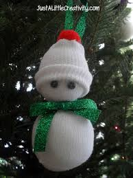 baby sock snowman ornament tutorial just a creativity