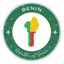 Benin Flag Benin Circular Patriotic Badge Grunge Rubber Stamp With National