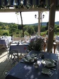dining room in french dining room terrace prepared for dinner in french hotel in