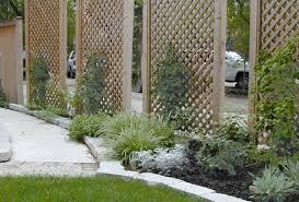 contemporary backyard design with outdoor privacy screen trellis