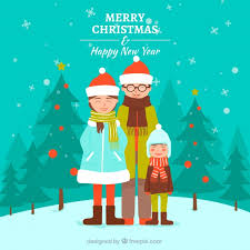 family background for merry and happy new year vector